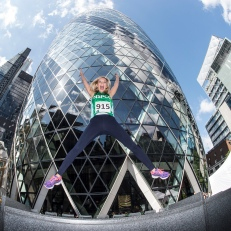 Rachel Riley jumps for joy as she prepares to run up the 38 floors to the top of the Gherkin for the NSPCC Gherkin Challenge. Picture by Daniel Hambury/Stella Pictures Ltd for NSPCC +44 7813 022858 06/09/2015